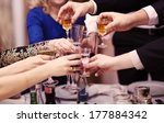 group of people toasting at a... | Shutterstock . vector #177884342