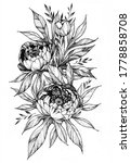 tattoo branch of flowers.... | Shutterstock . vector #1778858708