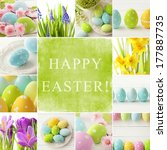 easter collage. easter eggs and ...   Shutterstock . vector #177887735