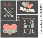 chalkboard style wedding cards... | Shutterstock .eps vector #177888122