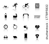 triathlon icons | Shutterstock .eps vector #177895832