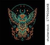 Skull Owl Line Art Design Vector