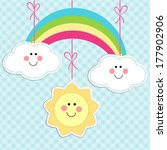Cute sun, cloud and rainbow characters as baby background - stock vector
