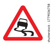 Slippery Road Traffic Sign. Re...