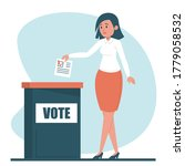 woman voting for a president... | Shutterstock .eps vector #1779058532
