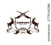Shield logo with deer facing each other and simple crossed rifle images, suitable for the deer hunter or company logo - stock vector