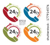 vector   colorful 24 7 call... | Shutterstock .eps vector #177914576