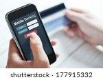 female hands using mobile... | Shutterstock . vector #177915332