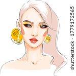 hand drawn beautiful woman face ... | Shutterstock .eps vector #1779172565