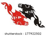 red and black flaming horse... | Shutterstock .eps vector #177922502