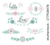floral graphic set with wreath  ... | Shutterstock .eps vector #177928478