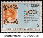 cuba   circa 1991  a post stamp ... | Shutterstock . vector #177929018