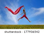 happy girl jumping with red... | Shutterstock . vector #177936542