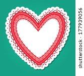lace heart frame. paper sticker ... | Shutterstock .eps vector #177939056