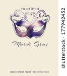beautiful mardi gras mask flyer ... | Shutterstock .eps vector #177942452