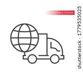 truck or lorry with globe thin...   Shutterstock .eps vector #1779535025
