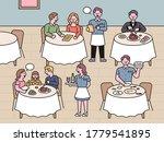 restaurant scenery. waitresses... | Shutterstock .eps vector #1779541895