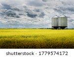 A Pair Of Grain Silos Sit Empty ...