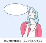 beautiful young woman thinking... | Shutterstock .eps vector #1779577532