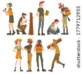 Male and Female Forest Rangers Working in Forest Set, National Park Service Employee Characters in Uniform Cartoon Style Vector Illustration - stock vector