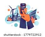 hands holding mobile cell phone ...   Shutterstock .eps vector #1779722912