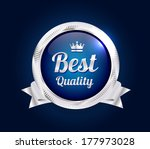 silver best quality badge | Shutterstock .eps vector #177973028