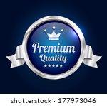 silver premium quality badge | Shutterstock .eps vector #177973046