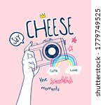 say cheese slogan with cartoon... | Shutterstock .eps vector #1779749525