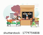 fast food restaurant  cafe with ... | Shutterstock .eps vector #1779754808