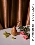 Still Life With A Pear  Roses ...