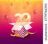 29 th years anniversary vector design element. Isolated twenty nine years jubilee with gift box, balloons and confetti on a bright background.