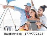 Happy Family Doing Sail Boat...