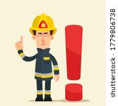 Firefighter Raised Index Finger ...