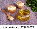 Glass Jar Of Sesame Oil  Raw...