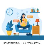 young girls using phone ... | Shutterstock .eps vector #1779881942