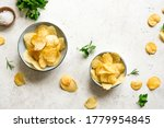 Homemade  Potato Chips In Bowls....