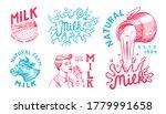 milk set. cow and woman farmer  ... | Shutterstock .eps vector #1779991658