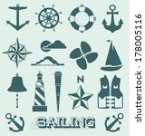 vector set  sailing icons and... | Shutterstock .eps vector #178005116