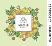 background with falafel in pita ... | Shutterstock .eps vector #1780068152