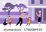 parents bringing kids to... | Shutterstock .eps vector #1780089935