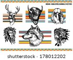 american,animals,black,buffalo,color,deer,drawing,eagles,feather,green,hand,head,indian,native,orange