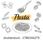 set italian pasta on fork and...   Shutterstock .eps vector #1780146275
