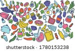 vector colored hand drawn line... | Shutterstock .eps vector #1780153238