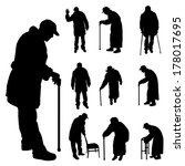vector silhouette of old people ... | Shutterstock .eps vector #178017695