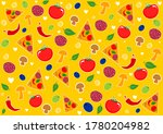 seamless pattern with pizza... | Shutterstock . vector #1780204982