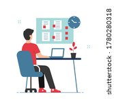 man working on laptop with busy ... | Shutterstock .eps vector #1780280318