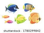 Watercolor colorful sea fishes...