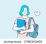 teenage girl happy to be back... | Shutterstock .eps vector #1780343405