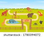 zoo park with wild animals ... | Shutterstock .eps vector #1780394072
