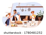 smiling family cooking and...   Shutterstock .eps vector #1780481252